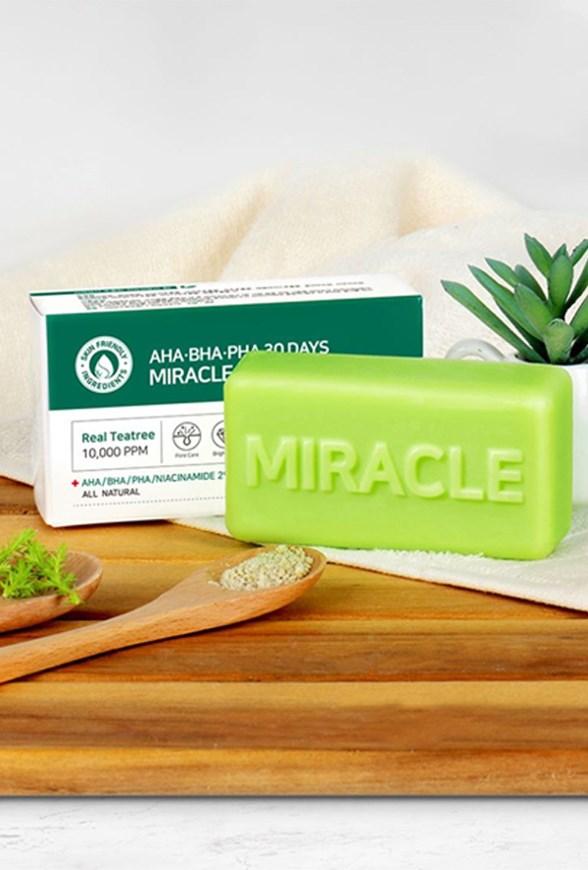 Очищающее мыло для проблемной кожи с кислотами Some By Mi AHA BHA PHA Tea tree 30 Days Miracle Cleansing Bar - фото 10723