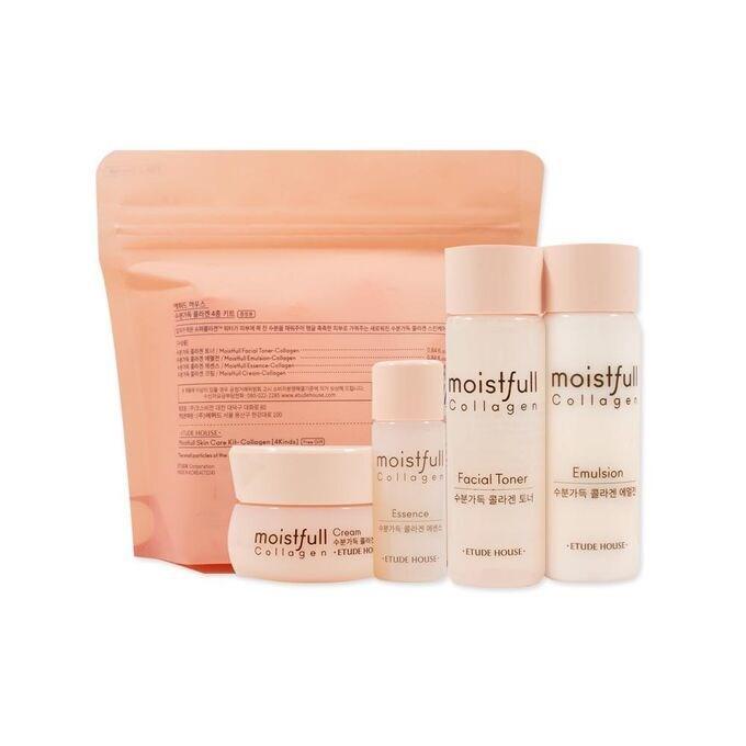 Набор миниатюр с коллагеном Etude House Collagen Moistfull skin care kit (toner 20ml emulsion 20ml essence 15ml cream 10ml) - фото 12235