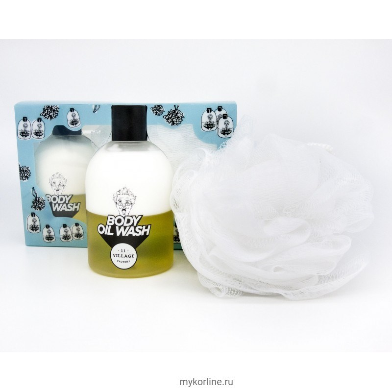 Набор мочалка и пенка-масло для душа (Желтый) Village 11 Factory Relax-day Body Oil Wash Set Yellow 300ml - фото 6643