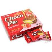 """Пирожное в шоколадной глазури Lotte """"Choco Pie"""" Клубника, 1шт"""