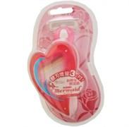 Женский бритвенный станок с тройным лезвием Feather Mermaid Rose Pink Русалочка (+1 кассета)
