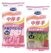 Перчатки из винила для бытовых и хозяйственных нужд ST Family (с антибактериальным эффектом и уплотнением в области кончиков пальцев) средней толщины, размер M (розовые)