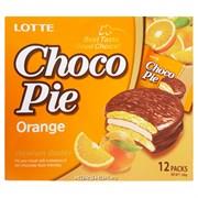 """Пирожные в шоколадной глазури Lotte """"Choco Pie"""" Апельсин, 12шт."""