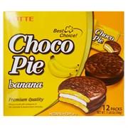 """Пирожные в шоколадной глазури Lotte """"Choco Pie"""" Банан, 12шт."""