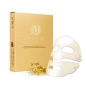 Маска для лица гидрогелевая c Золотом и Муцином Улитки Petitfee Gold&Snail Transparent Gel Mask Pack